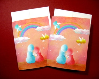 Wedding Card for gay, 2 blank greeting cards with envelopes from my original artworks, gay love, 4.25x5.5