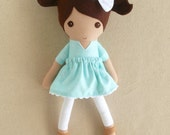 Fabric Doll Rag Doll Small Doll with Brown Hair and Aqua Blue Polka Dotted Dress