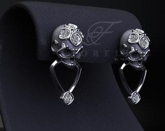 Diamond Vapor Skull Ring With Half Carat By