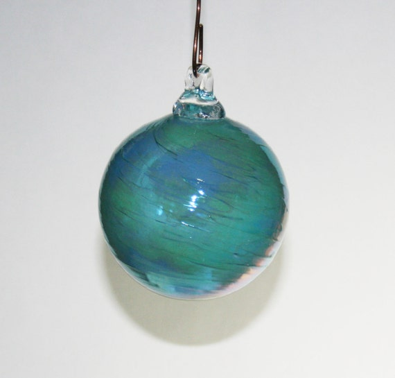 Hand blown glass christmas ornaments turquoise