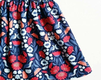 Blue Floral Scandi Girls' Skirt size 1,2,3