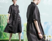 Linen Shirt Dress in Charcoal / Long Linen Dress, Linen Shirt, Shift Dress, Grey Dress, Grey Linen Shirt, Formal Dress, Plus Size