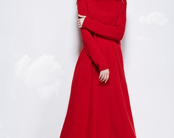 maxi wool dress in red, wool long dress, long sleeve dress, tunic dress, long evening dress, ankle length dress, turtle neck dress, kaftan