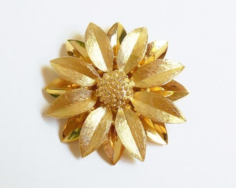 Gold Flower Brooch Vintage Double Layer 3D Sunflower Pin, Bride Brooch SALE