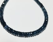 Genuine Kyanite Shaded Faceted German Cut Thin Rondelle Beads 4mm - 5mm