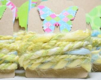 1 yd Vegan Fiber - Handspun - Flax - Cotton - Soy Silk - Handdyed- Macrame - Embroidery-Jewelry Making- Cord- Craft Supplies - CHEERFUL