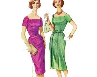 "1961 Square Neck Wiggle Sheath Dress, Wiggle Dress, Front Princess Seams, Slim Skirt and Optional Overskirt, McCall's 5758, Bust 32"", Uncut"