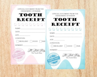 Tooth Fairy Receipt lost tooth note for boys and girls PRINTABLE  digital instant download sign kids teeth dentist children