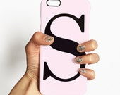 Dusty pink single letter personalised phone case - for iPhone 6/6s Plus, 5/5s, SE, Samsung Galaxy S7, S6, S5