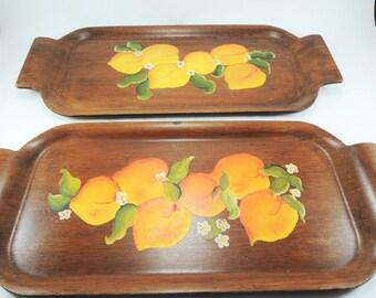 Vintage Laminated Molded Plywood Serving Tray, Toastmaster Hospitality Set, Set of 2, Hand Painted Tole Painting, Walnut Wood, Vintage Trays