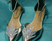 Ready to ship, sample sale 7.5 Frozen Elsa inspired Cosplay Metallic Embroidered Ice Queen Flats