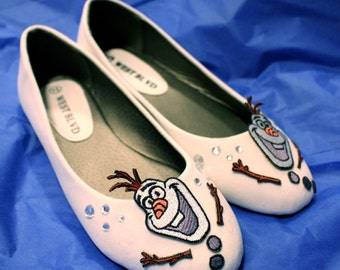 Ready to ship, sample sale 7.5 Handmade Frozen inspired Cosplay Olaf Embroidered Flats