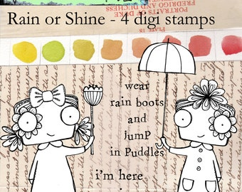 Rain or Shine - quirky and whimsical digi stamp bundle ready for instant download