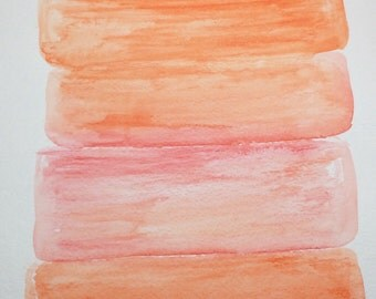 Original water color painting, 9x12, orange, pink, sunset