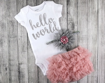 Dusty Rose Baby Girl Coming Home Outfit / Newborn Girl Hello World Bodysuit / Dusty Rose Bloomers & Headband Set / Baby Girl Hospital Outfit