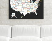 USA Map, Canvas Art, Travel Map, Travel Decor, Travel Art, Gender Neutral, Wedding Gift, Nursery Decor, Canvas Wall Art, Black USA Map