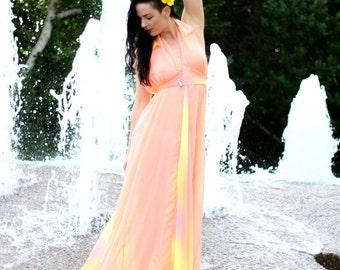 Creamsicle  Maxi Dress/ Peach Maxi Dress/ Long Dress/ Orange Dress/ Salmon Dress/ Custom Dress/ Maxi Dress/ Sunshine Dress