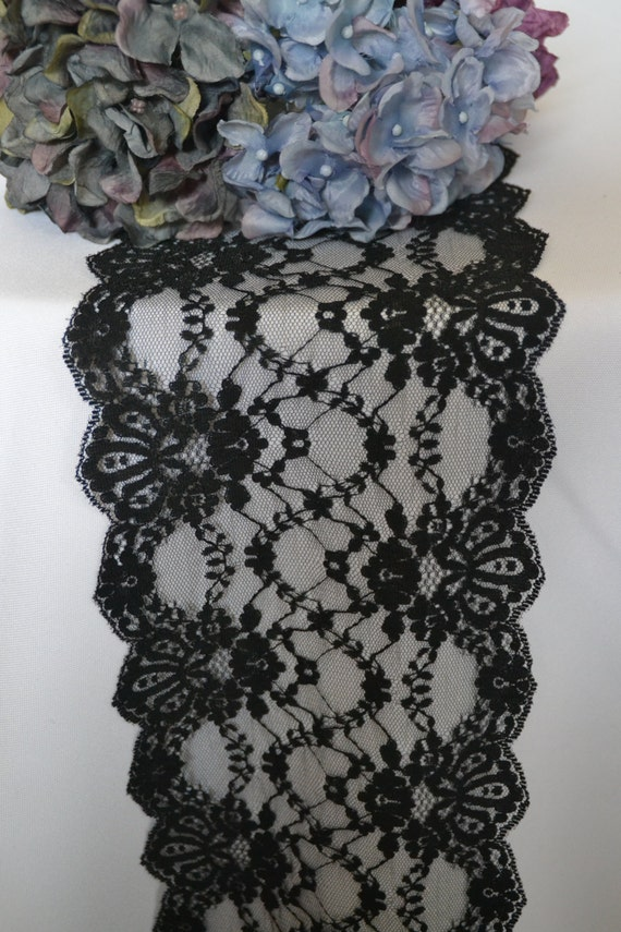Black lace table runner trim 3 ft 12ft long 6 wide for 12 ft table runner