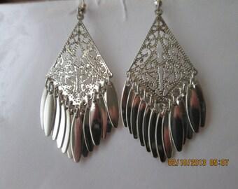 Silver Tone Chandelier Earrings with SilverTone Dangles