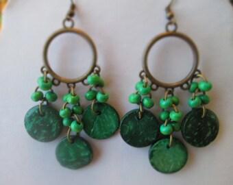 SALE Chandelier Earrings in Bronze Tone with Green Wood Dangles