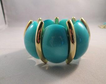 SALE Blue and Gold Tone Lucite Stretch Cuff Bracelet