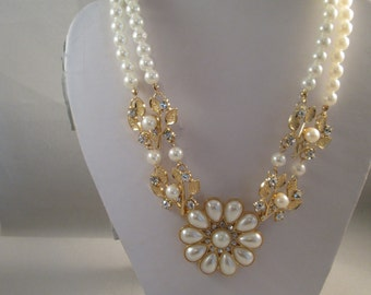 2 Strand White Pearl Choker Necklace with Gold Tone, Clear Rhinestones and White Pearl Pendants