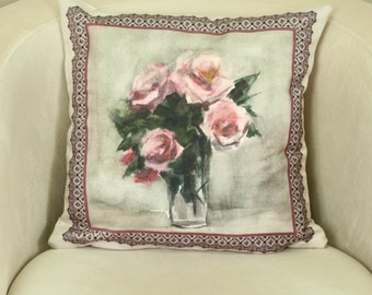 16''x16'' Pink roses in a vase, Pink throw pillow, Floral pillow case, Pink rose pillow, Pink rose bouquet, Decorative pillow case