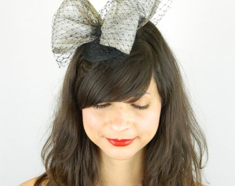 Fascinator Headpiece with Silver Large Bow and Black Veil - Cocktail Hat, Wedding Hat, Evening Fascinator