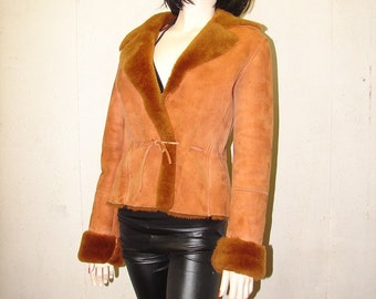 C-60 Mint genuine Sheepskin Shearling fur coat bomber jacket