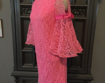 60s Hot Pink Lace Mini Dress