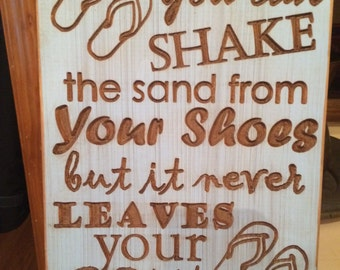 Sign, Beach, Flip Flops, Sand, Family, Wood, FREE SHIPPING, Carved, Distressed