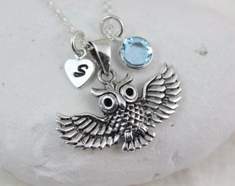 owl necklace, Sterling Silver Owl Pendant. Graduation Gift. 2 custom charms. Lawyer, Doctors, Teacher Gift, Owl Jewellery, choose chain