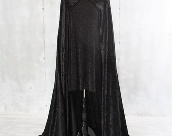 Long Black Crushed Velvet Cape Halloween Costume Victorian Steampunk Medieval Renaissance Gothic Vampire Goddess Wiccan Cosplay 66 Inches