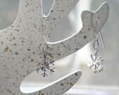 Snowflake Earrings - sterling silver drops, winter sparkle, festive earrings, holiday jewelry
