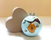 Honey Bee Ornament Bee Hive Beekeeper Bee Enthusiast Glass Bauble Hand Painted MADE TO ORDER