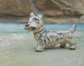 Vintage Lead White Terrier Dog Figurine West Highland Westie Miniature Cast Pot Metal Toy with Little Ceramic Dog House Made in Japan