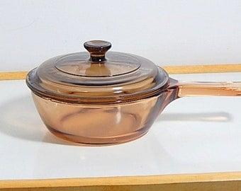Pyrex Visions Amber Cookware Sauce Pan. Corningware Vintage Cookware Amber Lid.