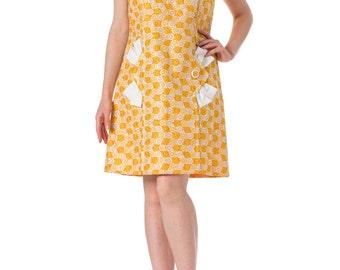 1960s MOD Embroidered Yellow Sleeveless Dress