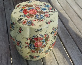 French Chinoiserie Papier mache Lacquered Canister Jar Pot Vintage