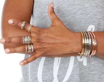 Love Cuff | Love Mantra Bangle | Love Cuff  | Rose Gold Gold or Silver | Gifts Under 10