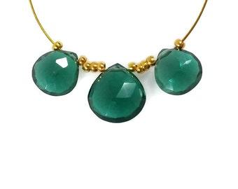 Dark Emerald Green Quartz Heart Briolette Faceted Beads, 8-10mm, Forest Green Beads, Hunter Green Gemstones