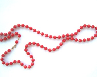 Mod 1960s Red Gold beaded gold chain long length Monet signed necklace