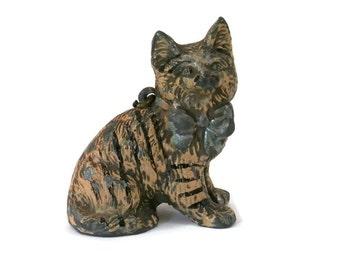 Vintage Miniature Cat Charm Metal Black and Pink Striped Kitten Figurine