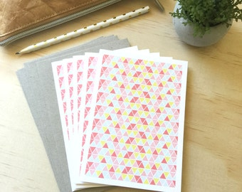 Blank Card Pack -  Geometric Triangles Pink - Set of 5 Cards - 5P006 - Could be used for Thank You, Congratulations etc
