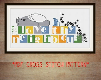 Love Thy Neighbour Totoro counted cross stitch PDF pattern