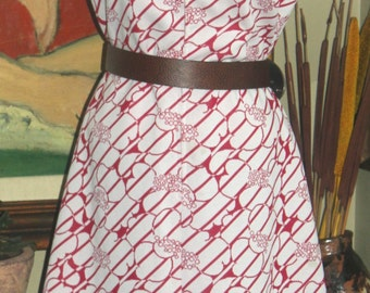 Plus Size Vintage Red and White Abstract Sleeveless Dress, 1960-70, XXL, 16-18, Retro Fashion, Antique Alchemy
