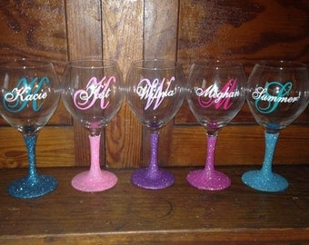 Custom Monogram Vinyl Wine Glass Decals Cell Phone Bridal Party - Wine glass custom vinyl stickers