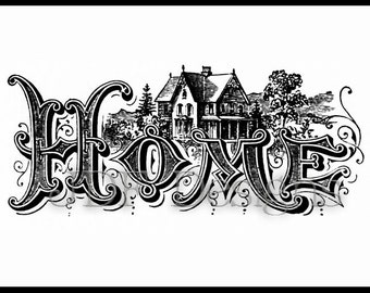 Instant Digital Download, Vintage Victorian Graphic, Antique Home Text Lettering, House Cottage Printable Image, Scrapbook, Typography