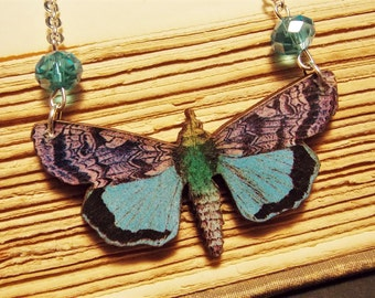Black and Blue Wooden Butterfly Necklace