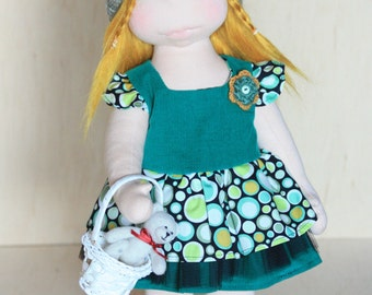 """Waldorf inspired 16"""" doll Olivia plus her outfits and felted teddy bear toy,cloth doll,soft doll,stuffed doll,Waldorf doll"""